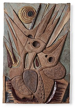 227. Tyra Lundgren, a stoneware relief ' The hungry', Sweden 1950's.