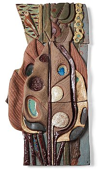 218. Tyra Lundgren, a stoneware relief 'A bird is singing at dawn among large leaves', Sweden 1950's.