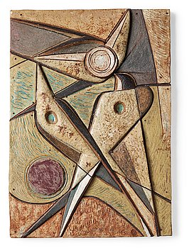 213. Tyra Lundgren, a stoneware relief 'The swallows' flying play', Sweden 1950's.