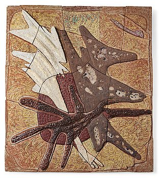 224. Tyra Lundgren, a stoneware relief 'Flying bird to the sun', Sweden 1960's.