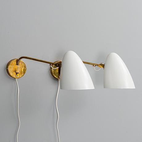 Paavo tynell, vÄgglampor, ett par. tillverkarens stämpel idman. 1950 tal