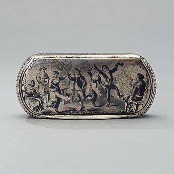 SNUSDOSA, silver och nillo, Frankrike 1800-talets första hälft, svenska importstämplar, vikt 88 g.