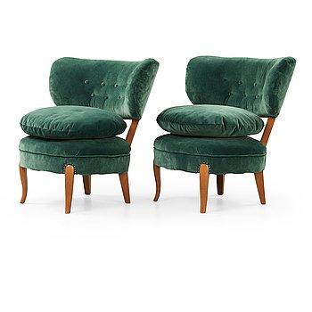 A pair of Otto Schulz easy chairs, probably JIO-möbler, Sweden circa 1950.