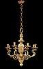 A 19th century eight-light brass chandelier in the manner of hans rogiers van harelbeke.