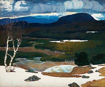 649. Helmer Osslund, Spring in a Northern landscape.