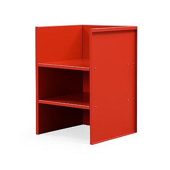 455. Donald Judd, a 'Traffic Red/RAL 3020' aluminium armchair, executed by Janssen, the Netherlands,  number 12 made in 1990.