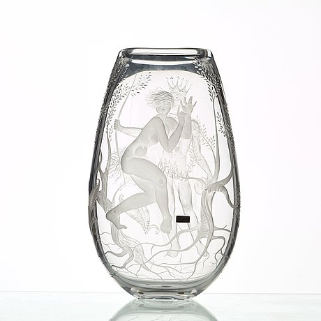 Vicke lindstrand, an engraved glass vase ''midsummer night's dream', kosta, sweden 1987.