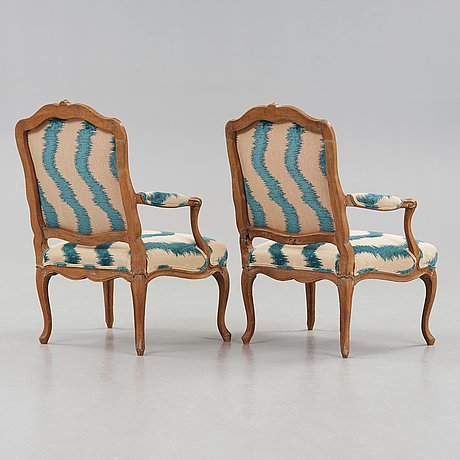 A pair of louis xv 18th century armchairs by pierre bara, master in paris 1758.