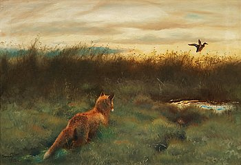 653. Bruno Liljefors, Fox and duck.