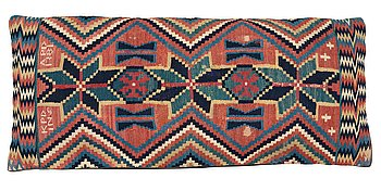 416. A CARRIAGE CUSHION. Double-interlocked tapestry. 48 x 109 cm. Skytts/Oxie district, Scania, Sweden. Dated 1781.