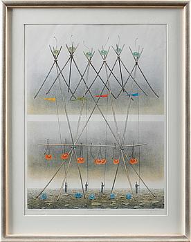 SVEN LINGARDSZ, färglitografi, signerad, numrerad 152/160 och daterad 1990.