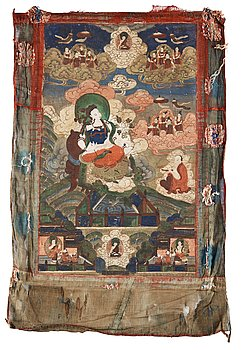 14. Two Beijing School thangkas of Bodhisattva's surrounded by Buddhist pantheon, 1920's.