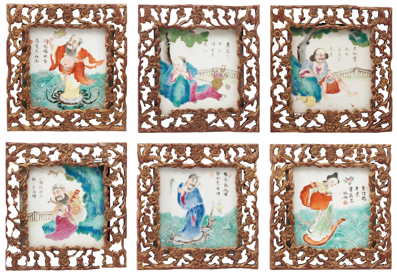 Facing fliser, seks, Qing-dynastiet porcelæn, 1800-tallet-3438