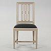Twelve late gustavian late 18th century chairs.