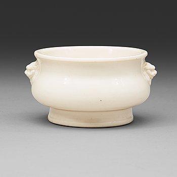 604. A Blanc de Chine censer, Qing dynasty, Kangxi (1662-1722).
