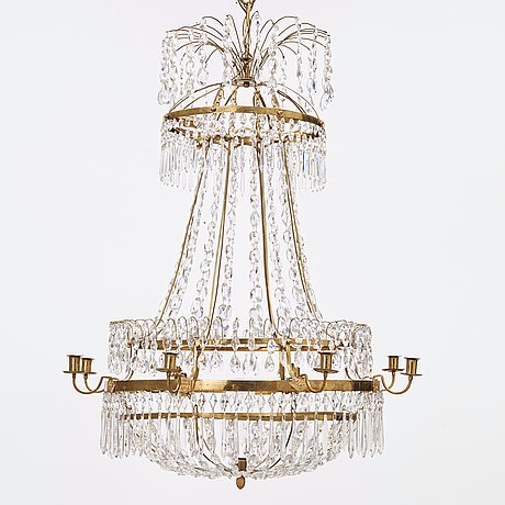 A late gustavian circa 1800 nine-light chandelier.