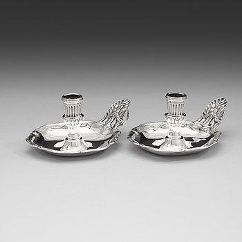 97. A pair of Swedish 18th century silver chamber-candlesticks, mark of Jonas Yman, Vaxjo 1783.