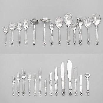 106. A set of 172 pieces of Johan Rohde's Acorn by Georg Jensen, Jensen & Wendel,  Copenhagen 1945-51.