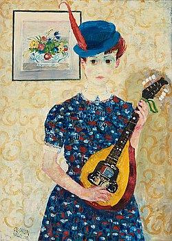 """58. Olle Olsson-Hagalund, """"Flicka med mandolin""""."""