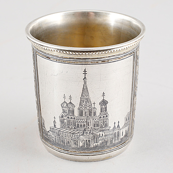 A 19th century russian silver cup weighing 58 grams.