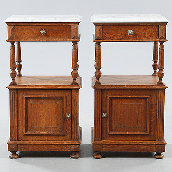 A pair of bedside tables, late 19th century.