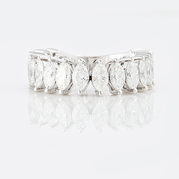 A 3.23 cts marquise-cut diamond ring.