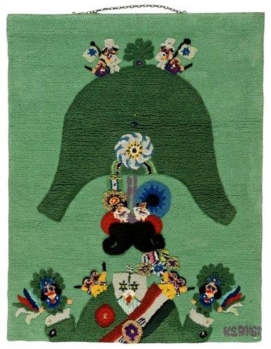 "Bildmatta. ""grön general"". tuftad och reliefklippt. 128 x 99,5 cm. signerad ks  ringi."