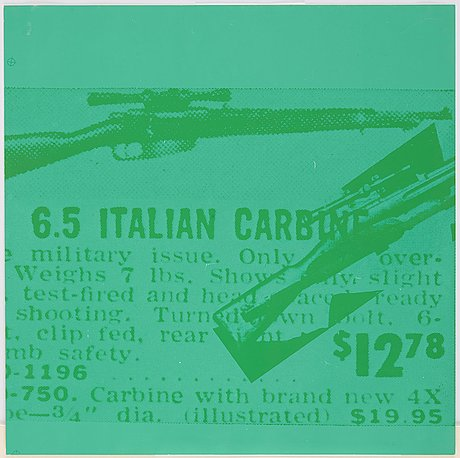 """Andy warhol, plate 37, italian carbine, from: """"flash - november 22, 1963""""."""