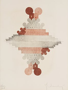 """14. Claes Oldenburg, """"Geometric Mouse Pyramid as an Image of the Electoral System, Doubled"""" (Scales of the Geometric Mouse, Doubled)."""