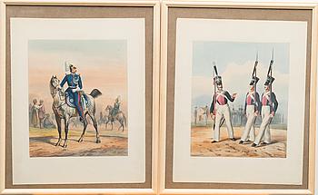 HORACE VERNET, efter, färglitografi, handkolorerad, signerad 1841 och 1842.