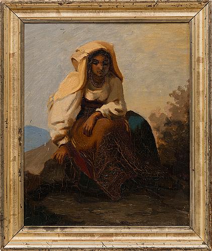 Gunnar berndtson, sittande italiensk kvinna, 1870