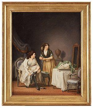 """803. PEHR HILLESTRÖM, """"Ett fruent drar på strumpan, och pigan kramar något ur svampen"""" (=A woman pulling up her stocking)."""