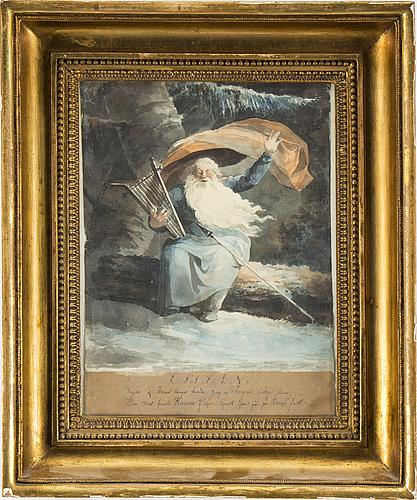 Fredrik august lidstrÖmer, tusch och akvarell.