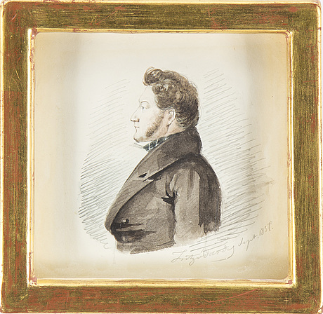 Fritz von dardel, tuschlavering, signed and dated 1837.