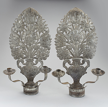 A PAIR OF TINPLATE WALL SCONCES, 18th/19th century.