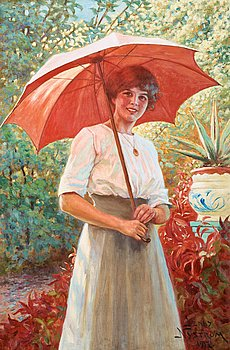 721. JENNY NYSTRÖM, Det röda parasollet.