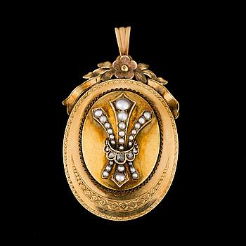 HÄNGE / MEDALJONG, 18K guld, pärlor, rosenslipade diamanter. Otto Roland Mellin, Helsingfors 1871.