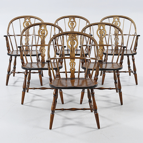 Six Windsor Stile Chairs Bt Gemla In Sweden From The Mid