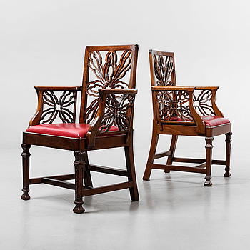 A COUPLE OF COLONIAL ARMCHAIRS, 19th century.