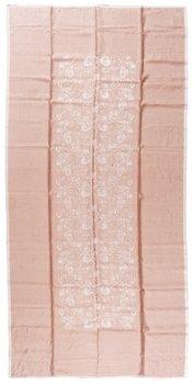 """827. DUK OCH SERVIETTER, 12 st. """"100 rosor"""". Damast. Duken 307 x 149,5 cm, servietterna ca 46 x 42 cm vardera. Signerade TL (Tampella). Komponerade av Dora Jung."""