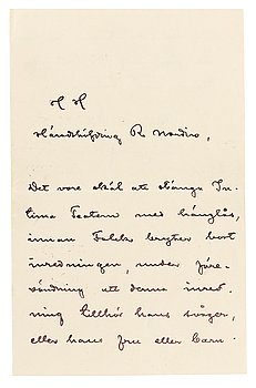 39A. AUGUST STRINDBERG, Letter, handwritten and signed by the author.
