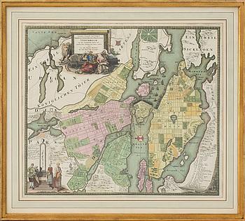 KARTA, över Stockholm, J. Homann, 1700-tal.