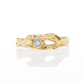 LAPPONIA, A RING, 8/8 cut diamond, 18K gold. Lapponia 1978.