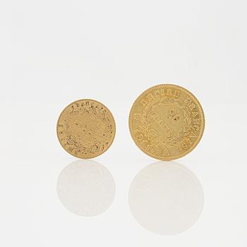 GULDMYNT 2 st, 5 och 20 Francs, Frankrike. Vikt ca 8 g.