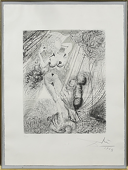 SALVADOR DALÍ, SALVADOR DALÍ, an etching, signed and dated 1963.