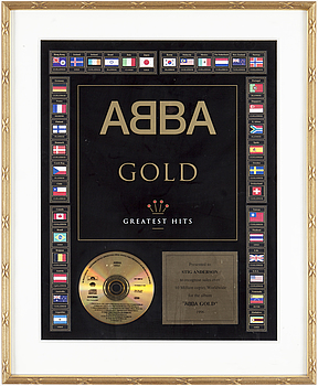 """A gold record presented to Stig (Stikkan) Andersson for """"ABBA gold"""" 1996."""
