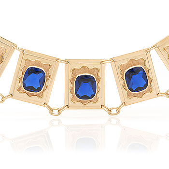 A necklace set with cushion-shaped, mixed-cut, synthetic, blue spinels.