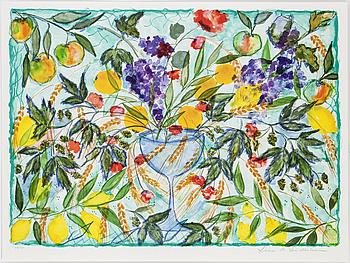 LENA LINDERHOLM, mapp, färglitografier, 3 st, signerade och numrerade 878/1750.