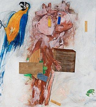 99. PG Thelander, Dubuffet-figurer och papegoja.