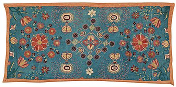 """122. A CARRIAGE CUSHION, embroidered. """"Blomsterdyna"""". 54 x 110 cm. Skåne (Scania, southern part of Sweden) around 1800."""